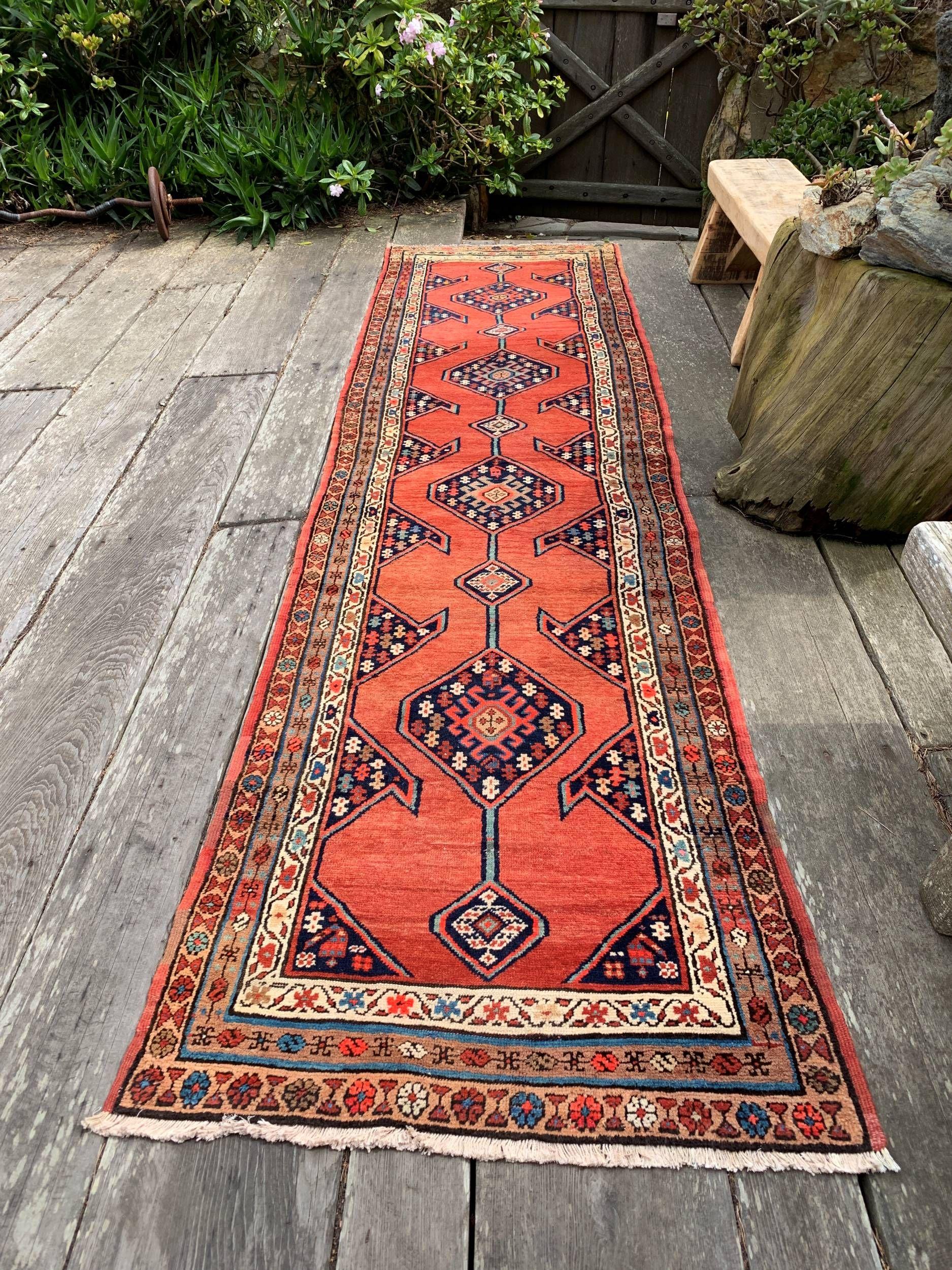 Vintage Persian Runner Rug 3x12 Coral And Navy Dream Persian Rug Runners Boho Carpet Bohemian Rug Rug Runner