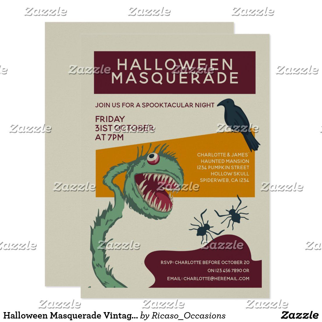 Monster Masquerade Halloween 2020 Update Halloween Masquerade Vintage Green Monster Invitation | Zazzle.