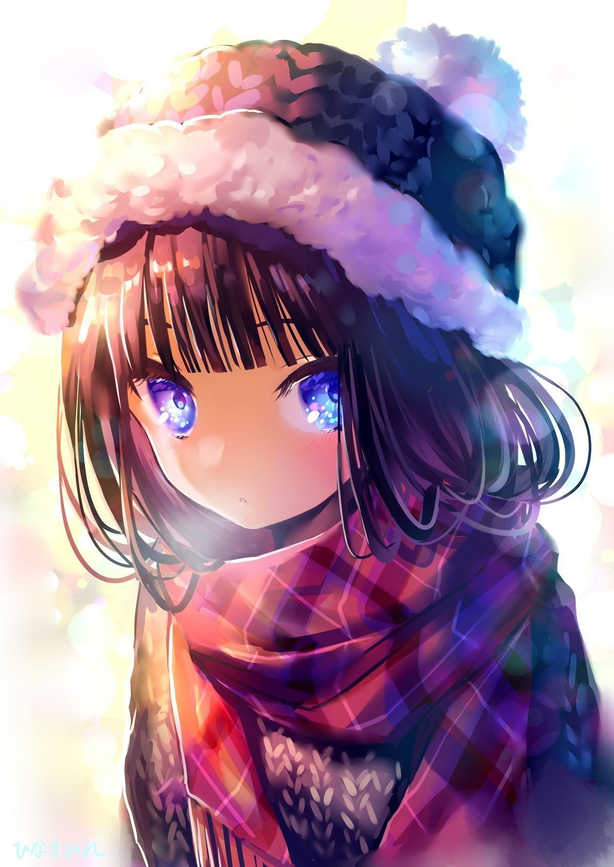 من يطلب صور فتاة بشعر اسود قصير و عيون بنفسجية Anime Drawings Anime Art Beautiful Anime Christmas
