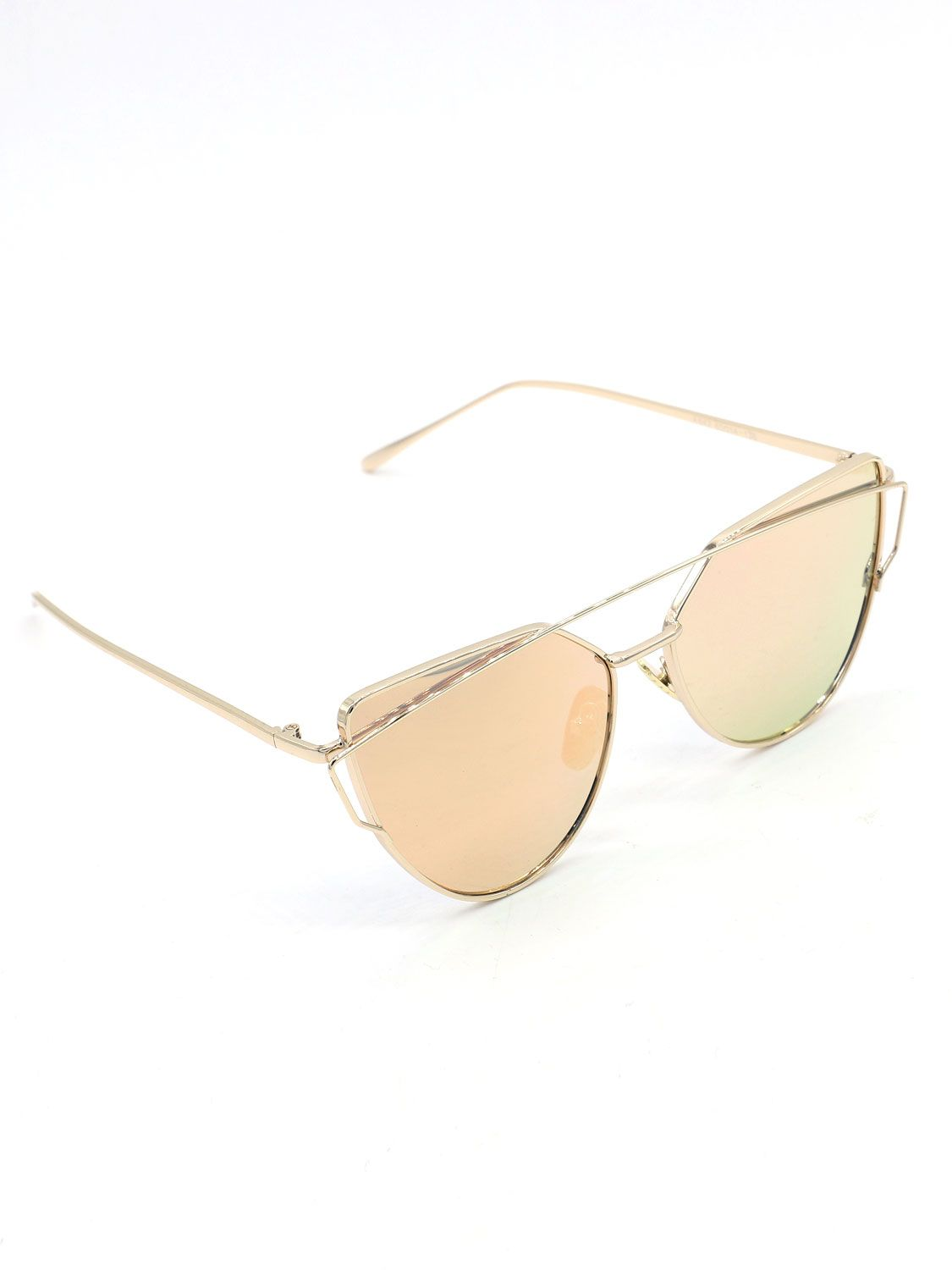 0ab4eb8a78bb4 Rose Gold Double High Bar Detail Tinted Cat Eye Sunglasses