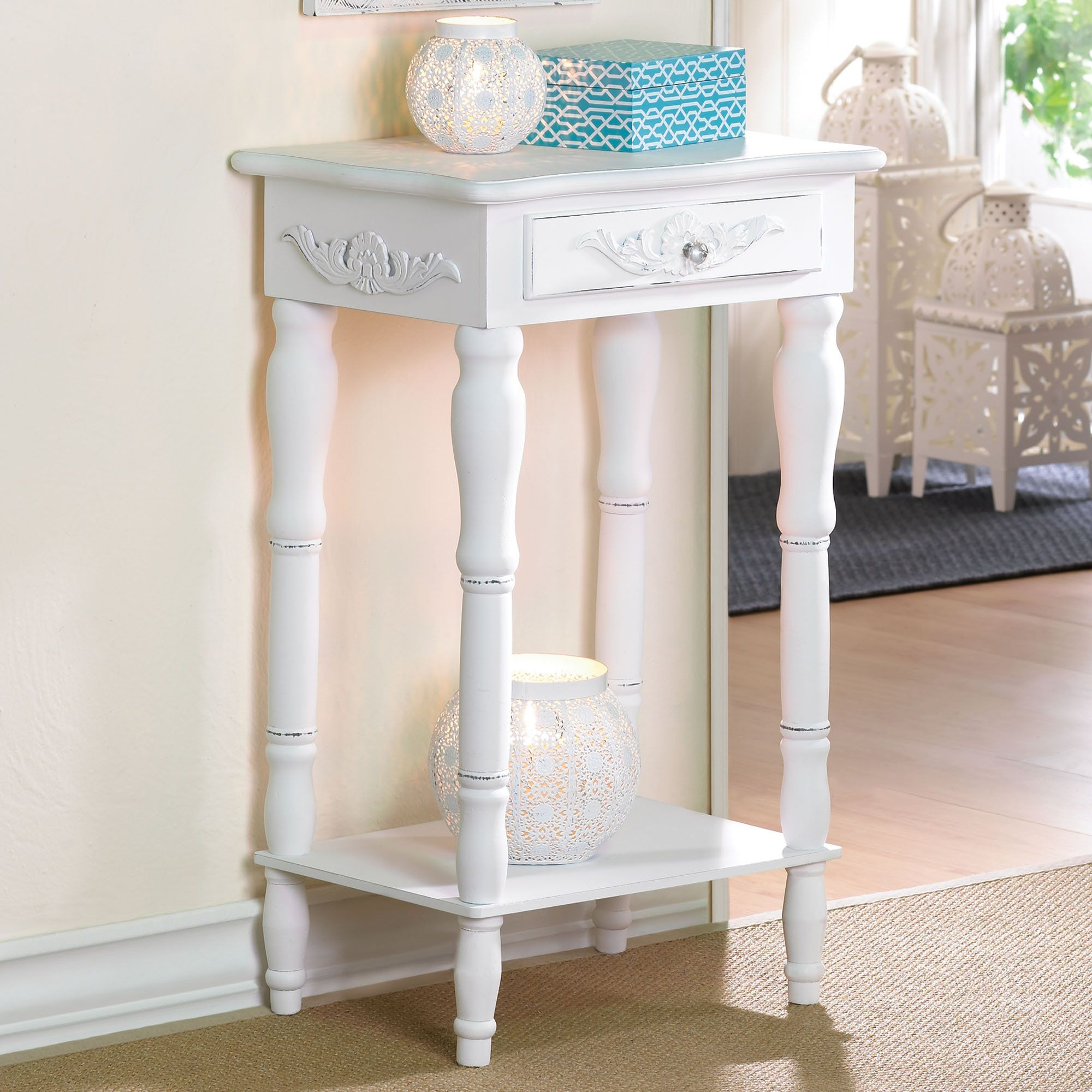 Cosenza Antique White Accent Table With Drawer Side Table Decor