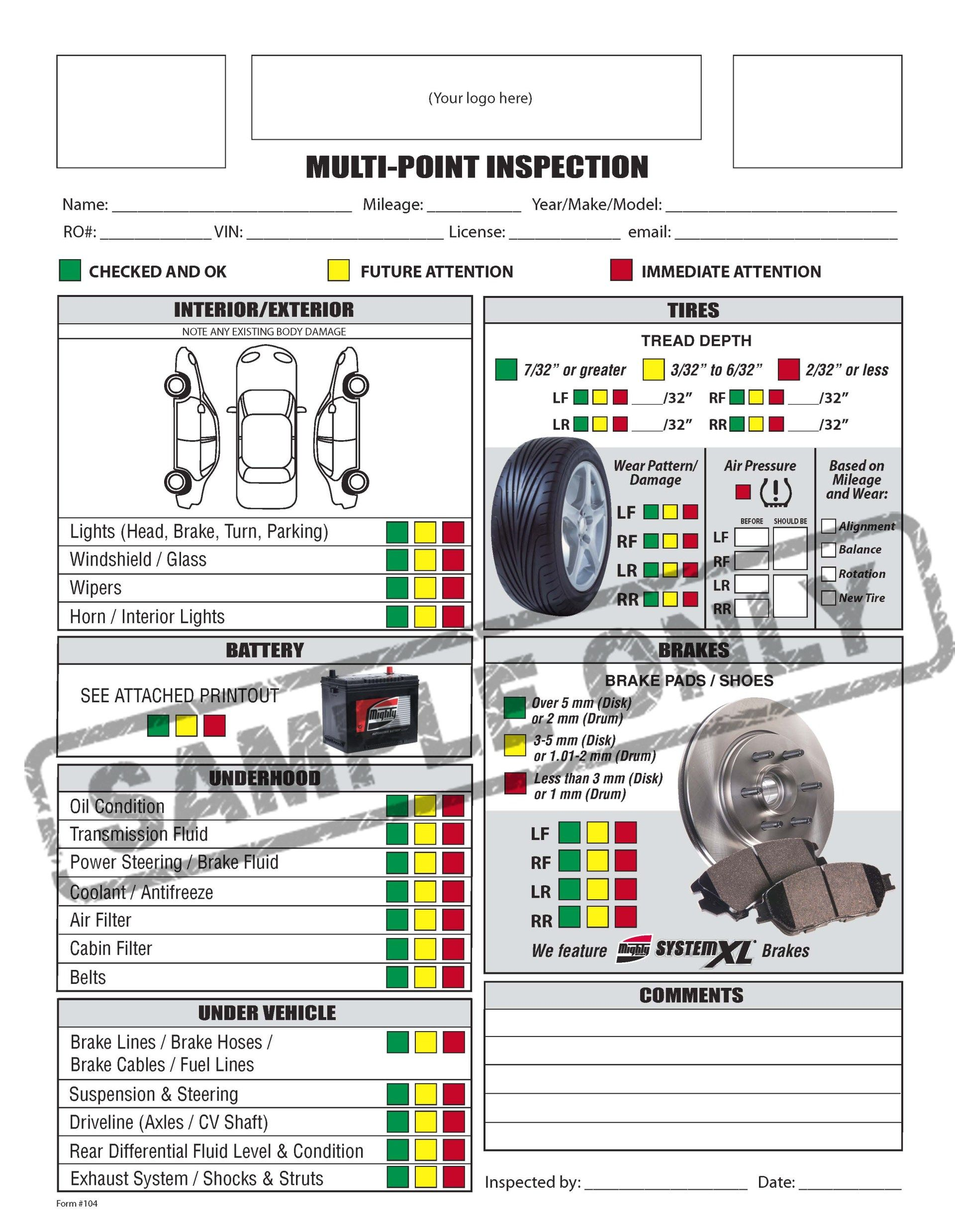 Free Printable Vehicle Inspection Form FREE DOWNLOAD