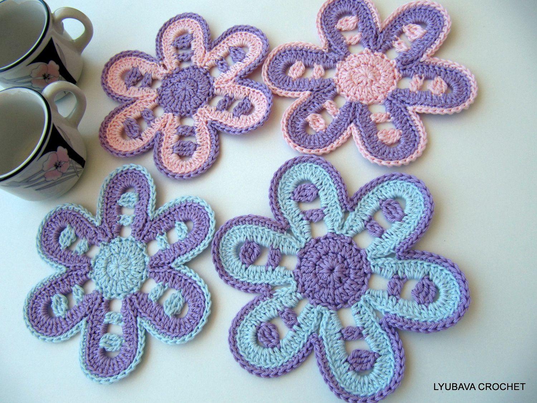 Crochet coasters set beautiful crochet flower drink coasters set crochet coasters set beautiful crochet flower drink coasters set 4pc pink violet izmirmasajfo Image collections
