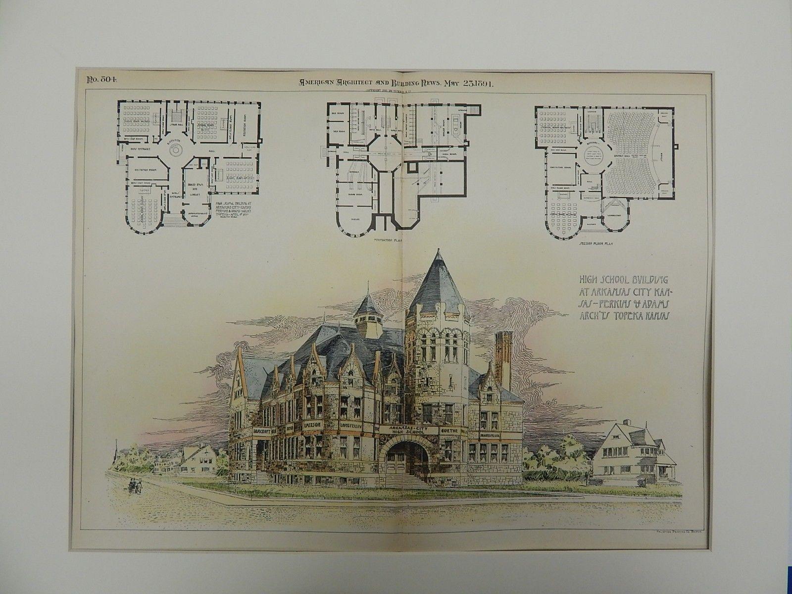 High school building arkansas city kansas 1891 original plan perkins adams