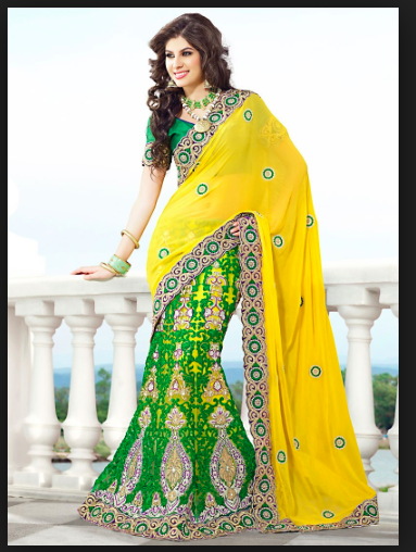 Green and yellow saree (perfekt for mehndi!)