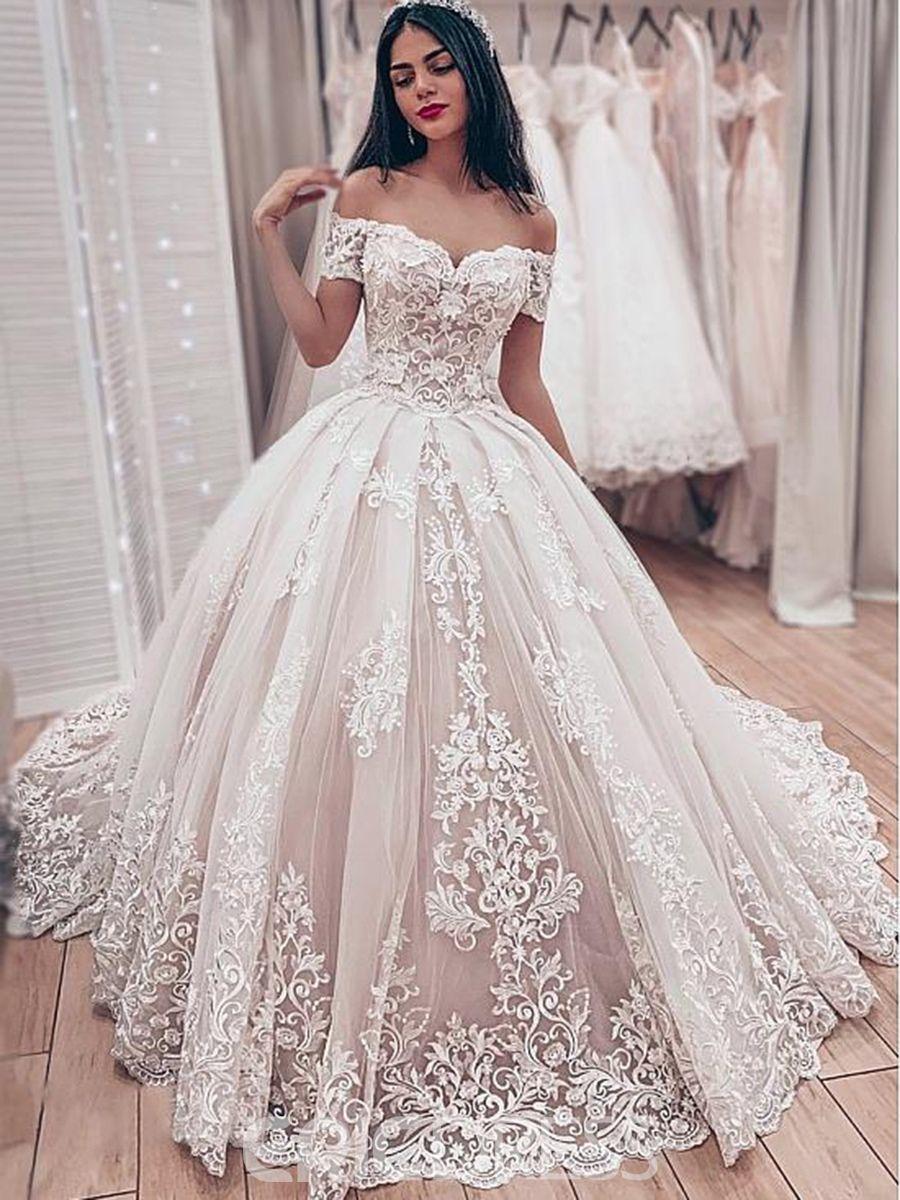 Ericdress Off The Shoulder Appliques Ball Gown Wedding Dress 2019