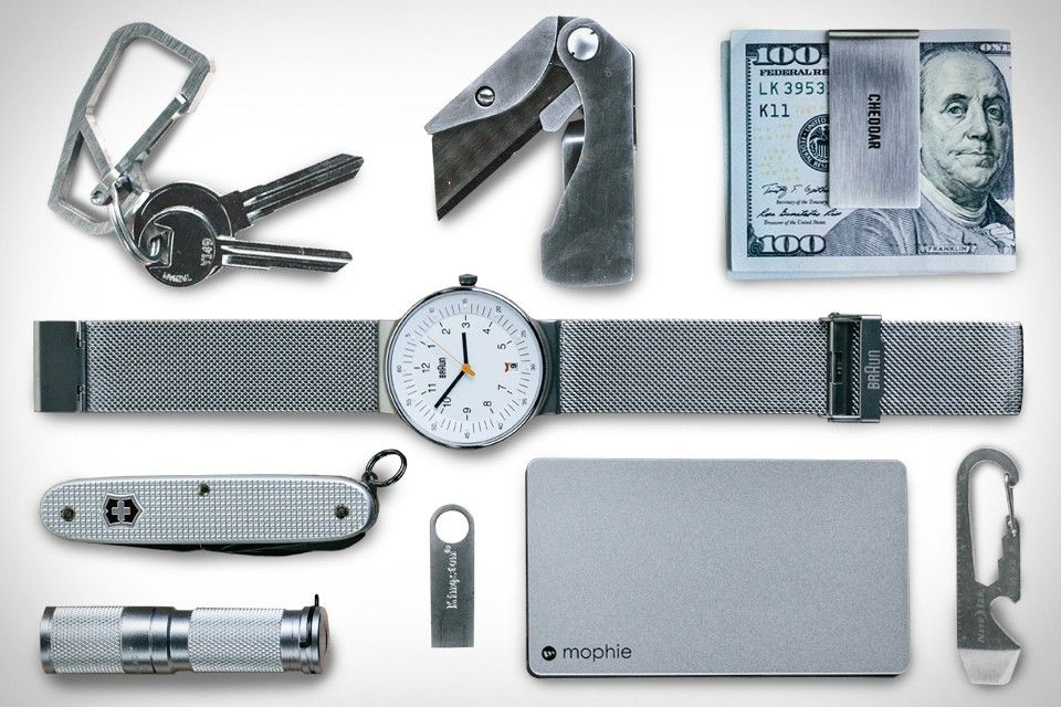 FIRST SEEN IN UNCRATE MAGAZINE Victorinox Swiss Army Farmer Knife ($35). Braun Classic Mesh Watch ($220). Gerber E.A.B Knife ($15). Jack Spade Money Clip ($68). Maratac Stainless Steel Flashlight ($28). Kingston DataTraveler 64GB Flash Drive ($30). Nite Ize DoohicKey Tool...