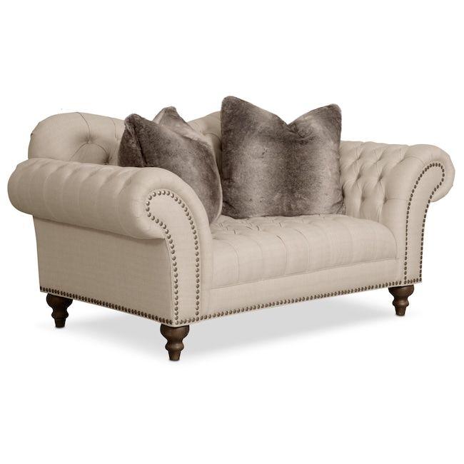 Best Living Room Furniture Brittney Loveseat Linen Value 400 x 300