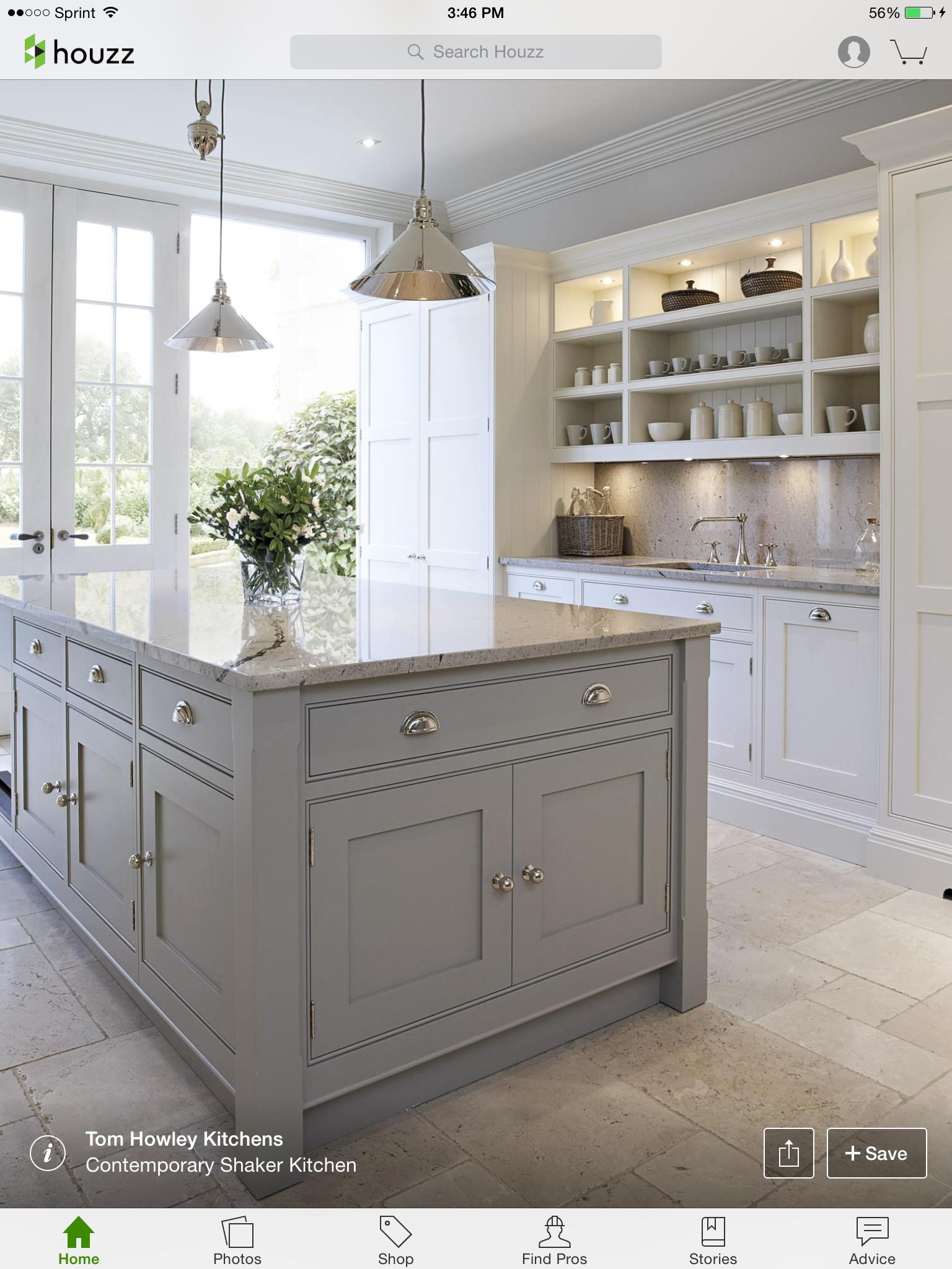 Cabinet Colors Cup Pulls Basement Kitchen Grey Kitchen Island Contemporary Kitchen Home Kitchens