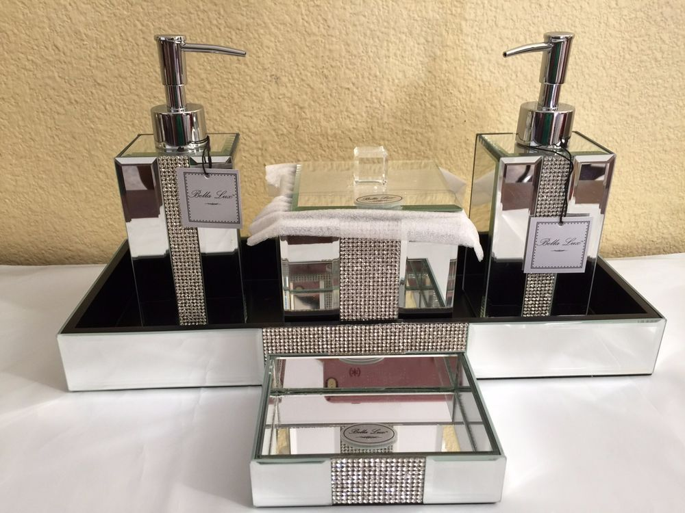 Bella Lux Mirrored Rhinestone Bathroom Accessories DispenserContainerTray Soap