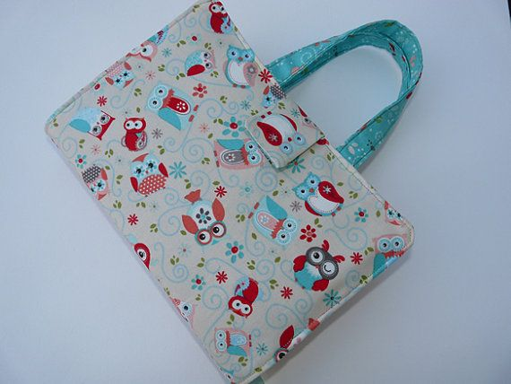 Cute Owl fabric book cover with handles,