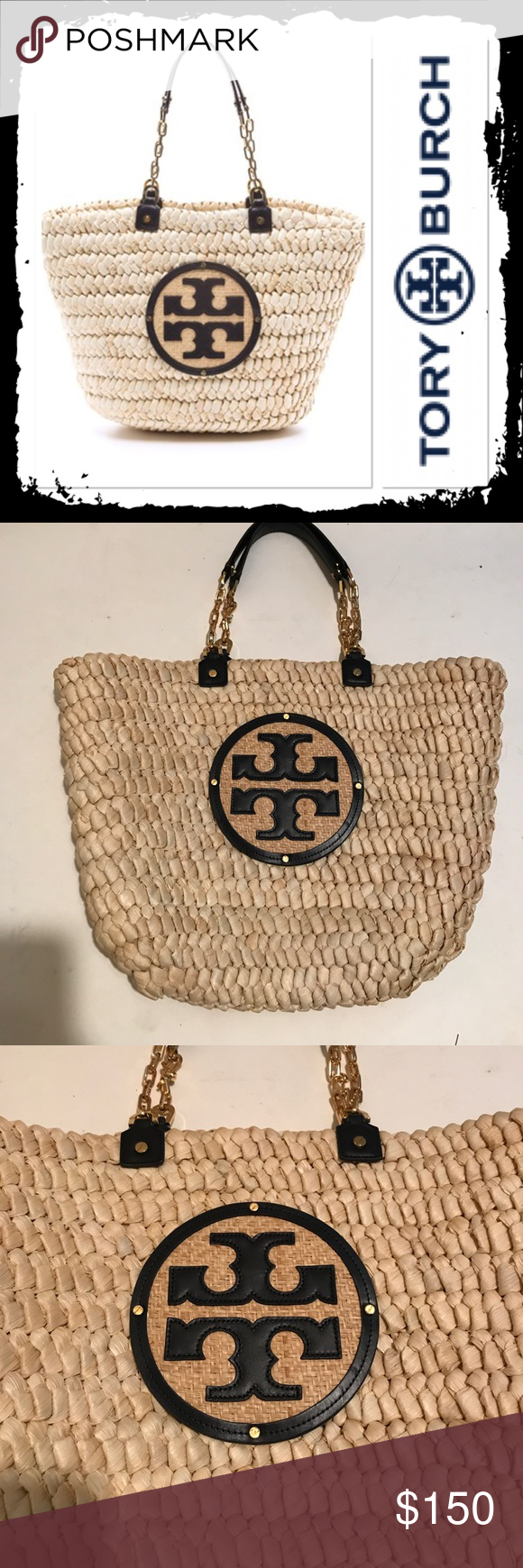 a895996e55b NWOT Tory Burch Audrey Tote Never been used Tory burch straw tote with  oversized logo 13