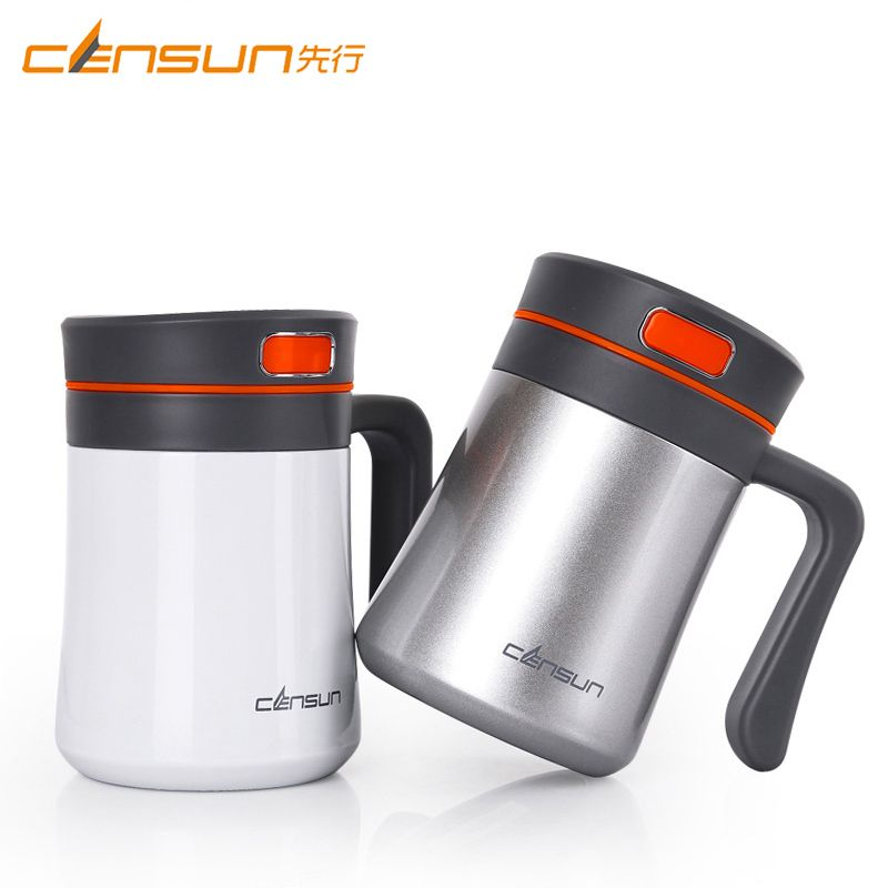 400ml Thermos Mug Double Stainless Steel Thermo Mug Vacuum Flask Cup Thermo Coffee Mugs Tea Cup With Handle Gentleman Office Mugs Tea Cups Vacuum Flask
