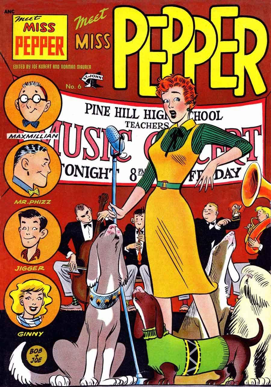 Meet Miss Pepper, Vol. 1, no. 6, June 1954; cover art by Joe Kubert and Bob Bean.