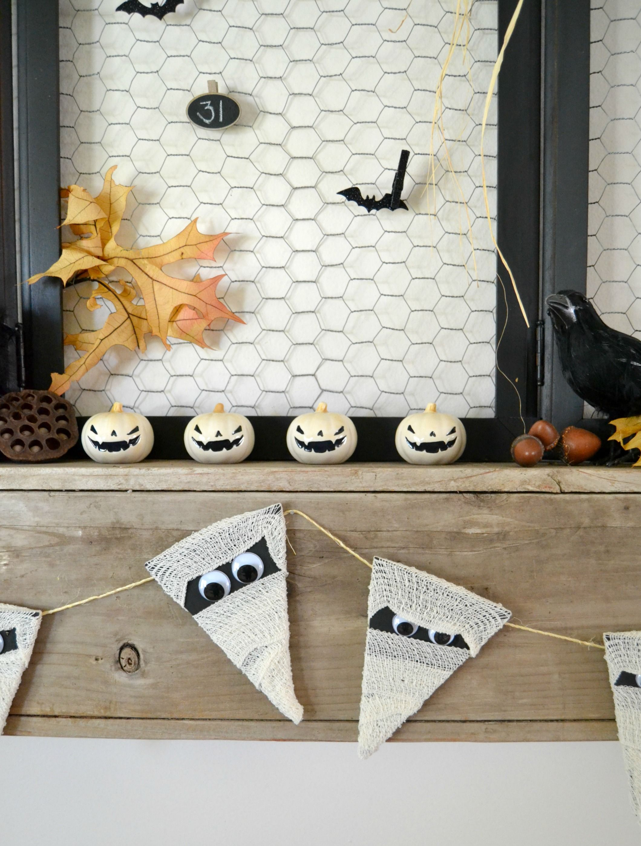 Halloween Crafts Easy Mummy Banner Banners, Craft and Easy halloween - Halloween Decorations For Kids