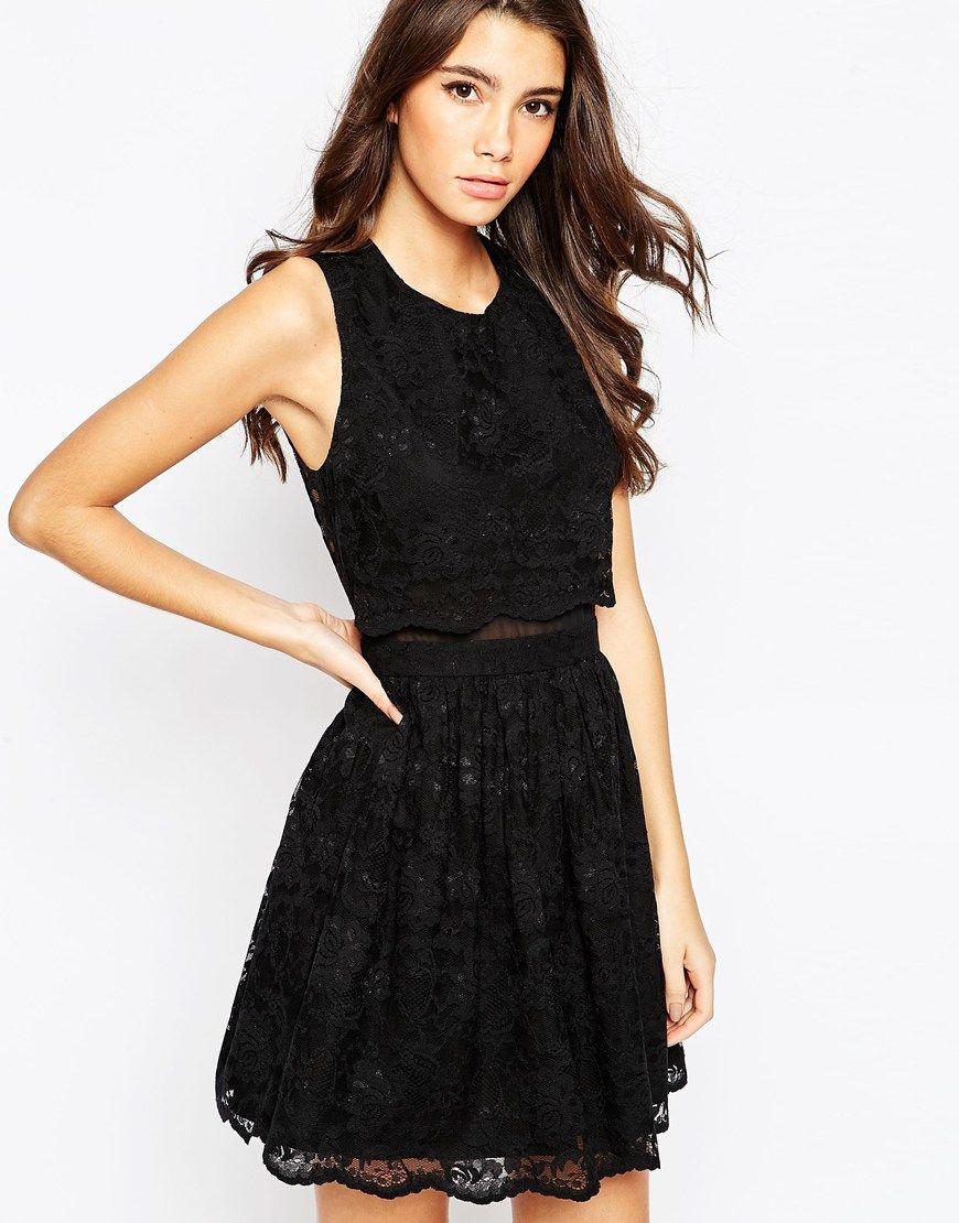 Scalloped lace skater dress asos