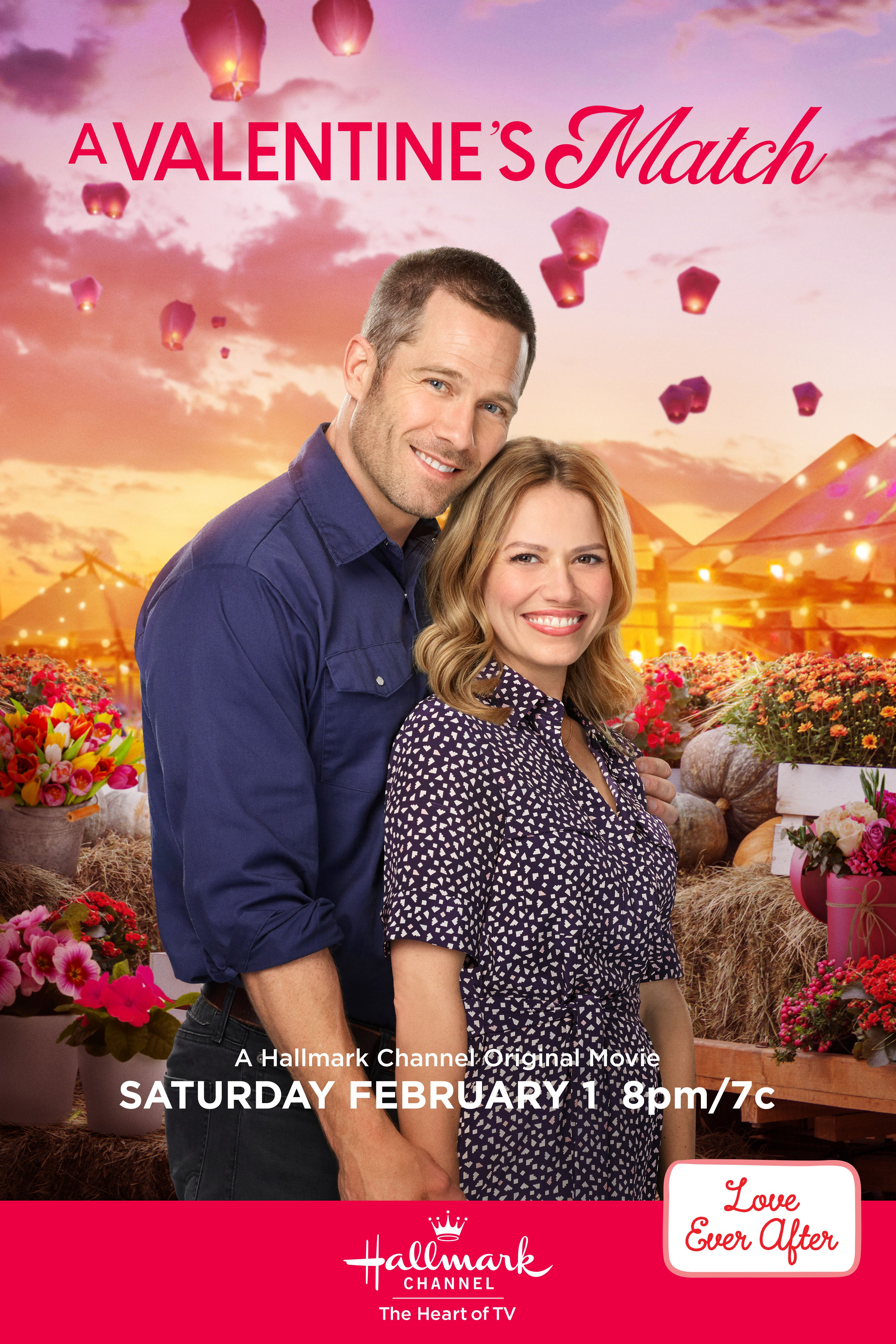 """Will Natalie (Bethany Joy Lenz) rekindle her romance with ex-fiancee Andrew York (Luke Macfarlane) during the town's festival auction? Tune in to """"A Valentine's Match"""" on February 1st, 8pm/7c for an all new original romantic premiere on Hallmark Channel. #HallmarkChannel #LoveEverAfter #AValentinesMatch"""