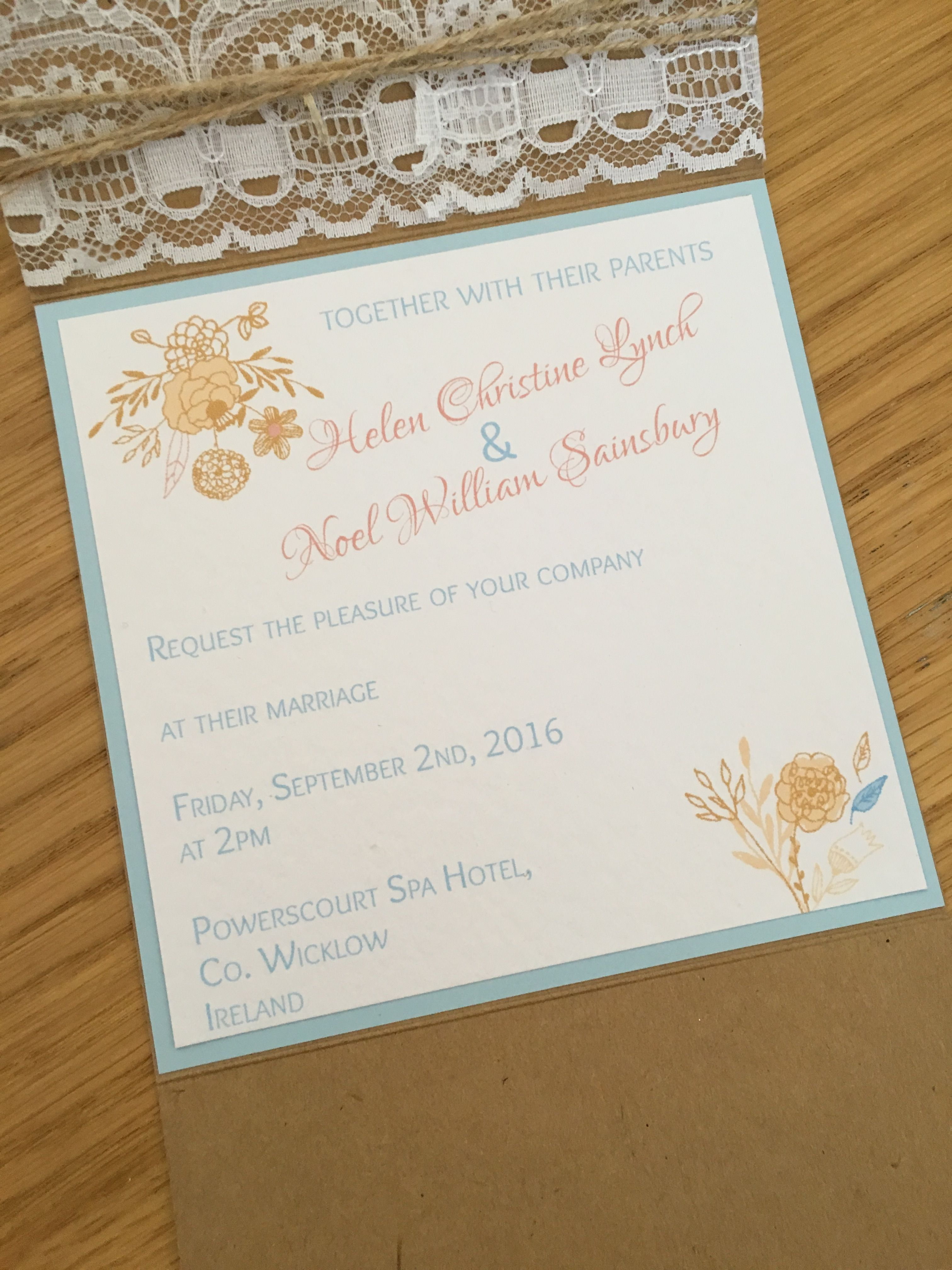Rustic Kraft pocketfold wedding invitations with lace and wooden ...