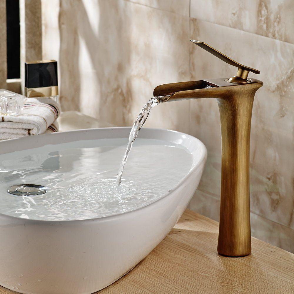Hiendure® Vendimia latón cascada Grifos de lavabo baño cocina alto ...