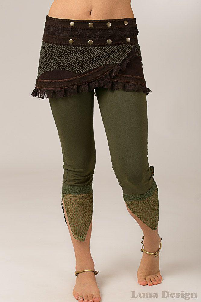 Brown Wrap Around Pixie Skirt - Multi Sized Studded Mini Skirt - Perfect Festival Skirt by LunaDesignn on Etsy