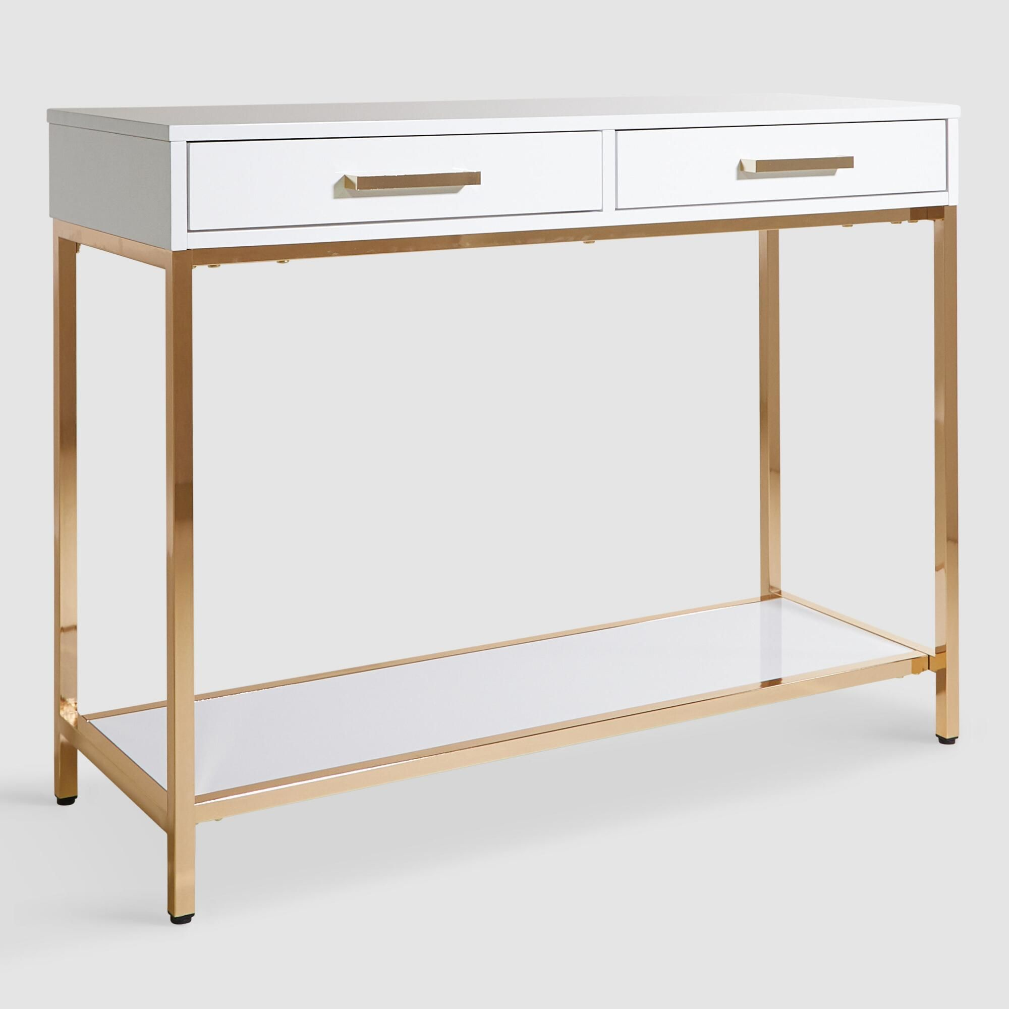 White And Gold Reid Console Table With Drawers By World Market White Console Table Modern Console Tables Modern Console