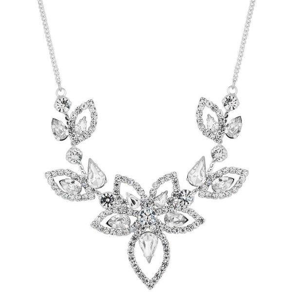 Jon Richard Silver Diamante Floral Necklace Liked On Polyvore Featuring Jewelry Neckl Silver Necklace Statement Floral Statement Necklace Diamante Jewellery