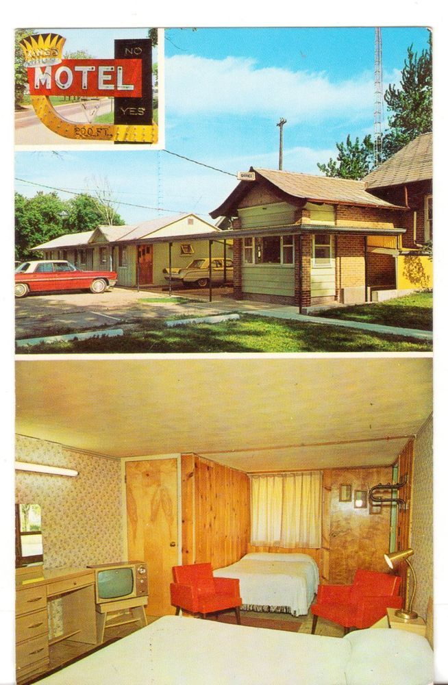 Undated Unused Postcard Kings Motel Angola Indiana In 2 Views Plus Neon Sign