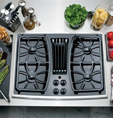 "No longer made GE Profile™ Series 30"" Built-In Gas Downdraft Cooktop Item #: PGP989SNSS"