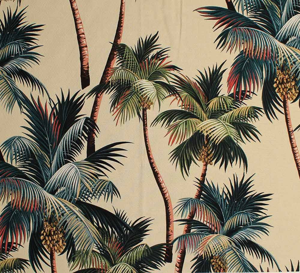 Fabric tree pattern - 11 Tropical Leaf Print Barkcloth Fabrics In 31 Colorways