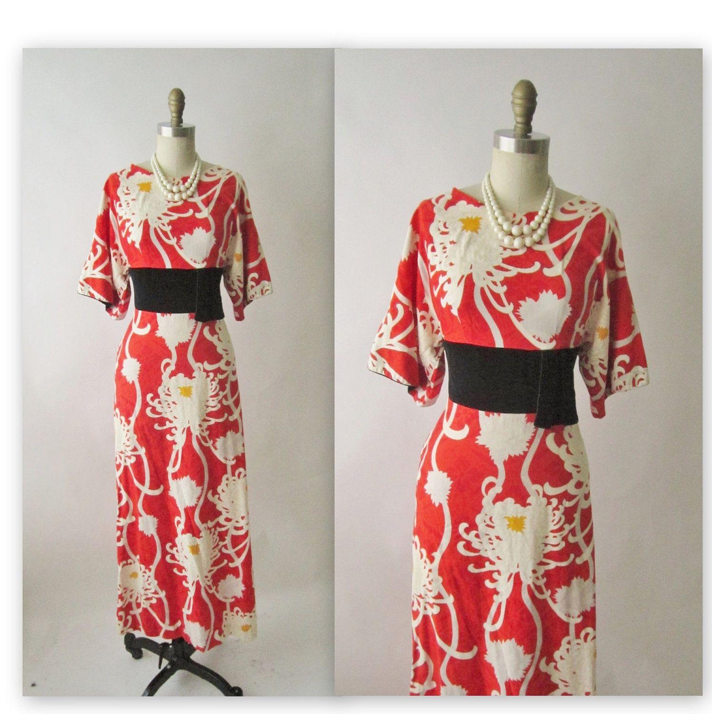 Us kimono dress vintage us asian chrysanthemum print kimono