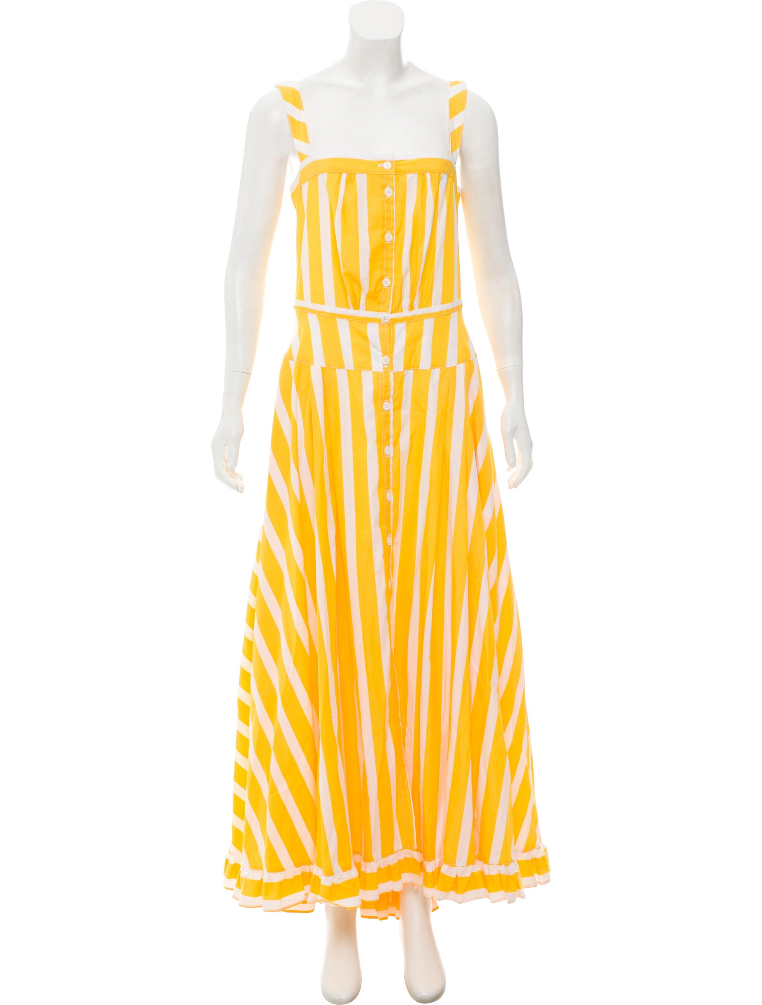 Yellow and white thierry colson rossana sleeveless maxi dress with