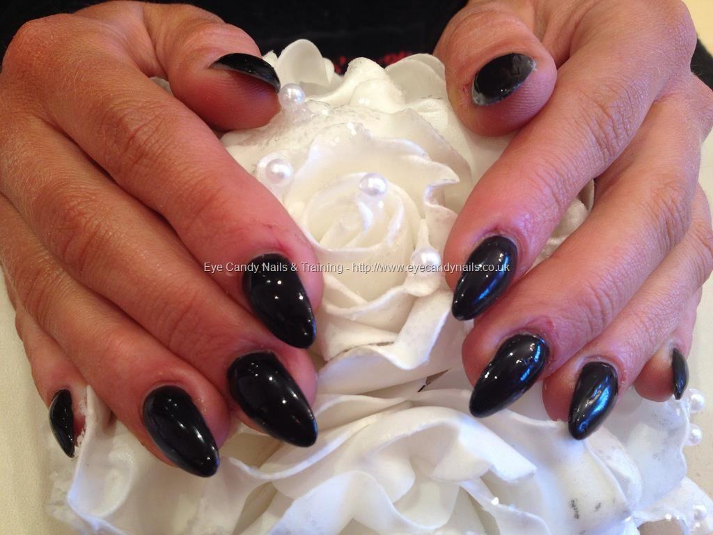Black almond shape acrylic nails | GOT NAILS? | Pinterest