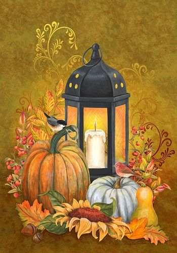 Custom Decor Flag - Lantern & Pumpkins Decorative Flag at Garden ...