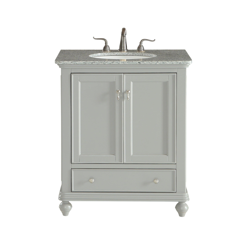 Elegant Light Grey 30 Inch Single Bathroom Vanity Set Size