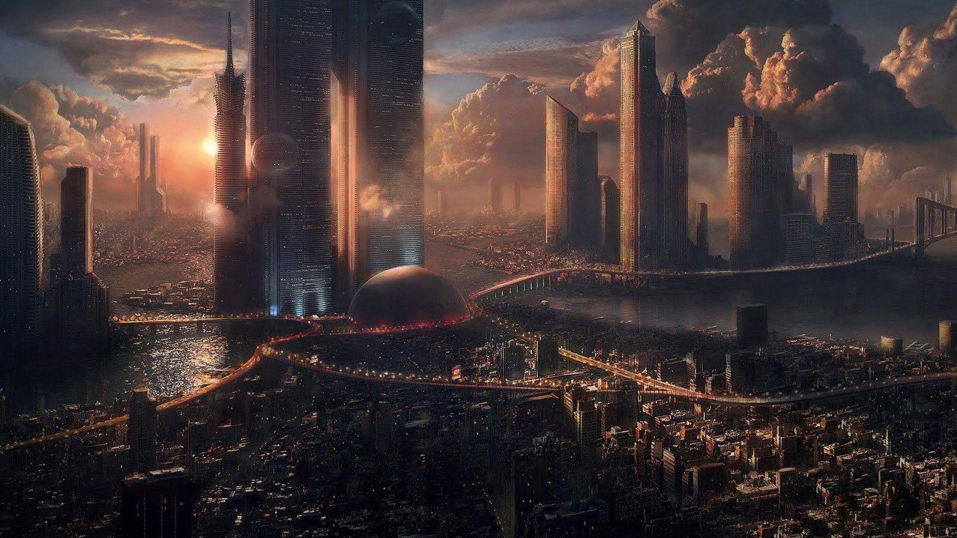Futuristic Cityscaped Scene Futuristic Cityscape