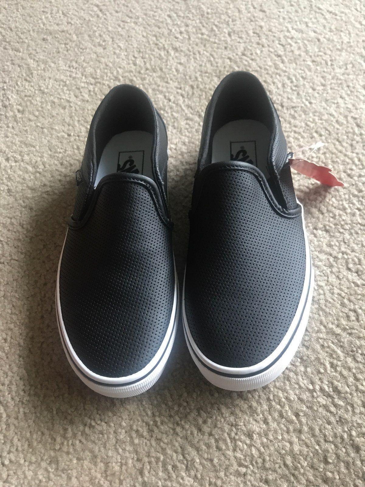 Black leather slip on vans size 7 in