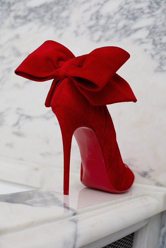 Christian Louboutin x Mytheresa red pumps with bow detailing. #louboutinshoes #stilettos #shoes