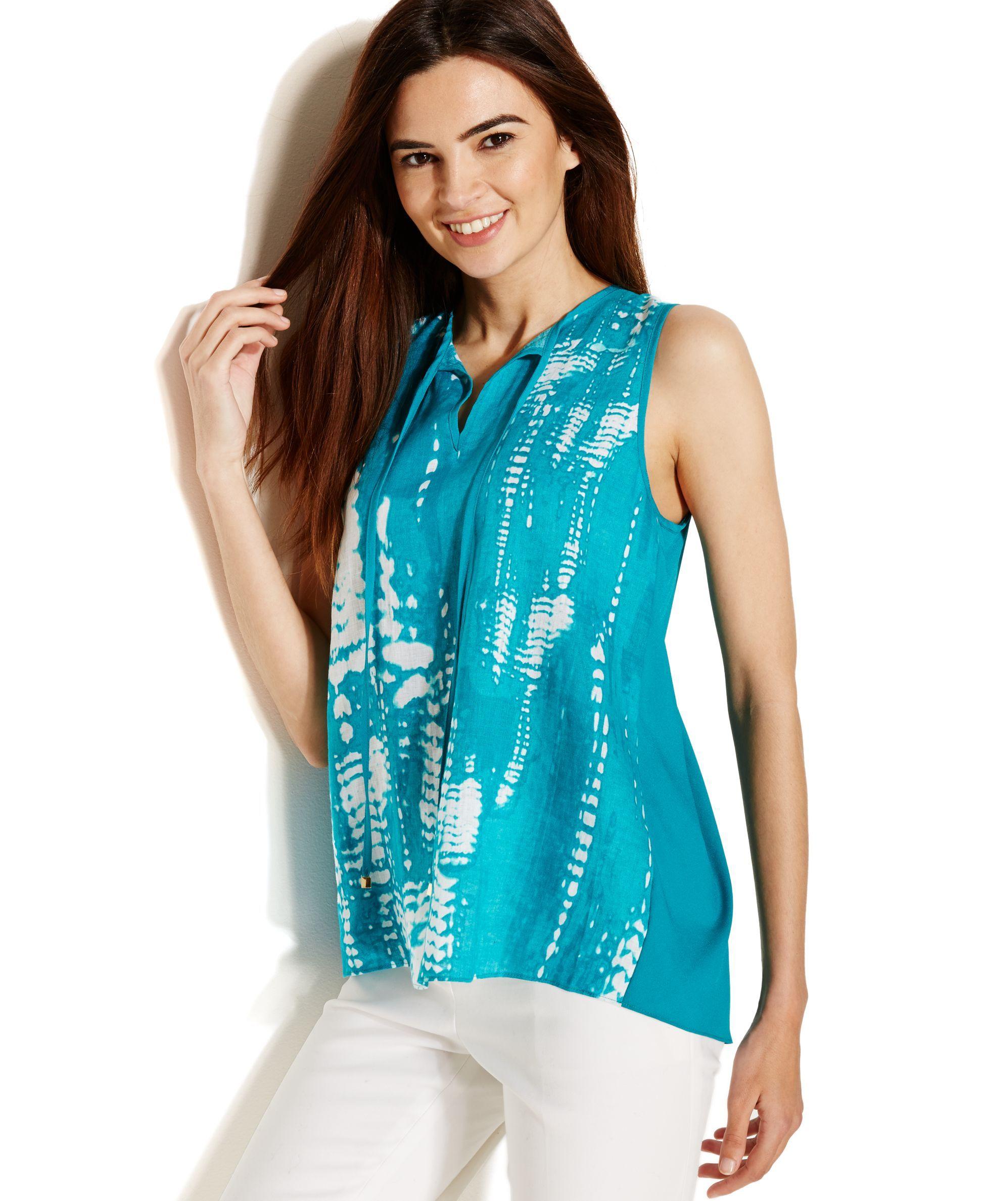 0408526b6a7c08 Calvin Klein Sleeveless Tie-Dye Print Colorblock Blouse