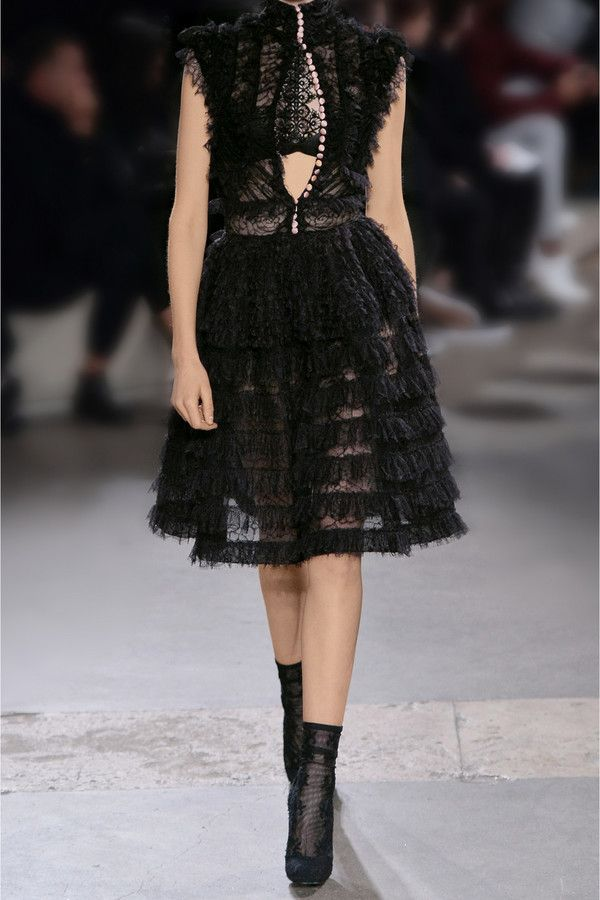 Alexander McQueen Alexander Mcqueen Ruffled Silk-Blend Lace Dress
