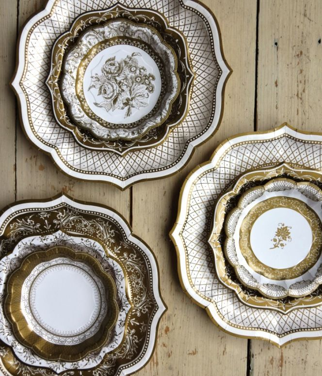 Intricate Gold Vintage Paper Plates Easy Clean Up For A Steampunk Party Disposable Tablewarefancy