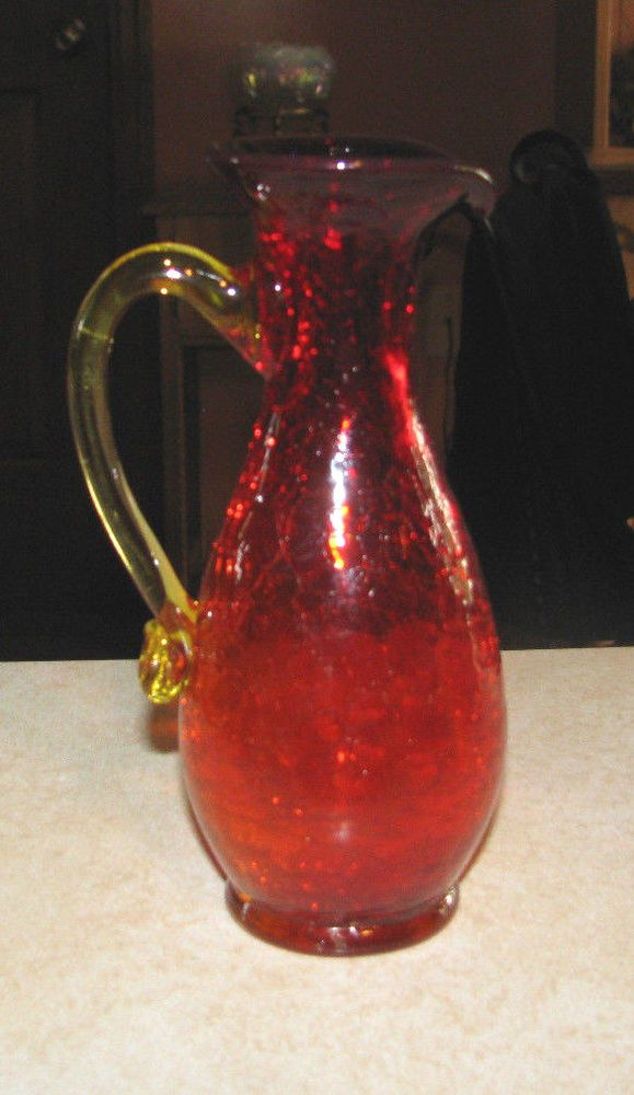 Vintage Red Crackle Glass Pitcher Vase With Yellow Applied Handle