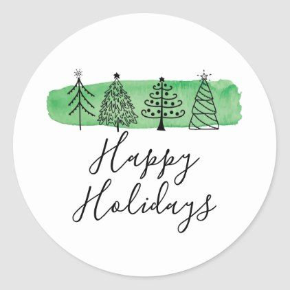 Watercolor Doodle Holiday Classic Round Sticker