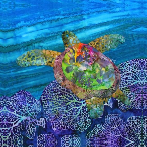 Sea Turtle Fabric Quilt Square Under The Sea Fabric Sea Turtle