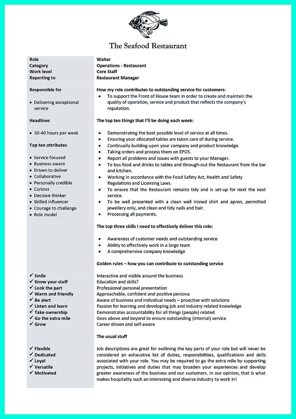 Knowing Waitress Duties Before Writing Cocktail Waitress Resume Server Resume Job Description Template Resume Skills