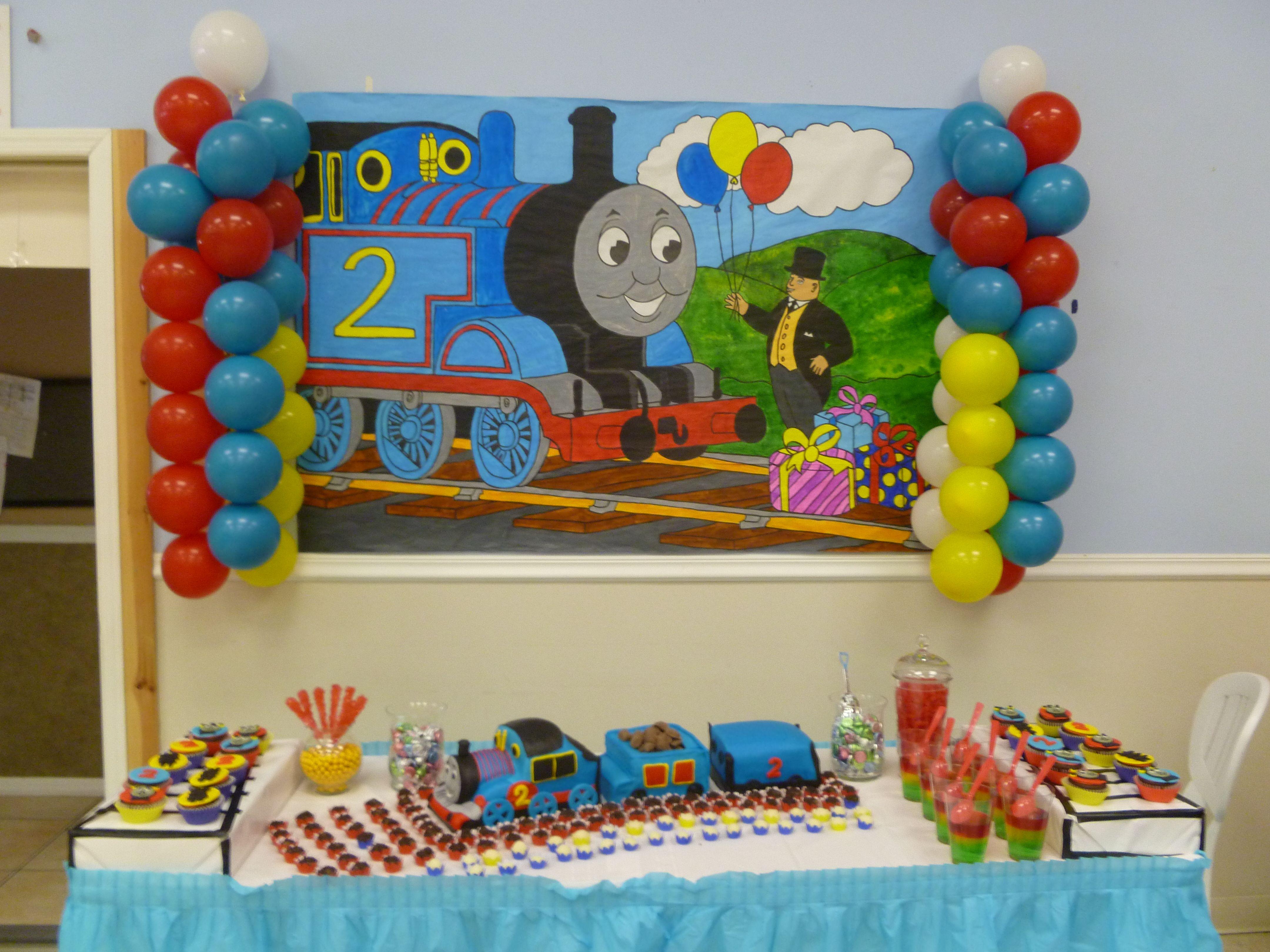 Thomas Train Backdrop Thomas The Train Birthday Party Thomas The Train Party Train Birthday Party Cake