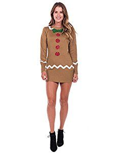 e198890c3f2  5  Tipsy Elves Women s Gingerbread Sweater Dress - Brown Ugly Christmas  Sweater Dress