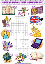 school subjects crossword puzzle esl worksheet parts of school
