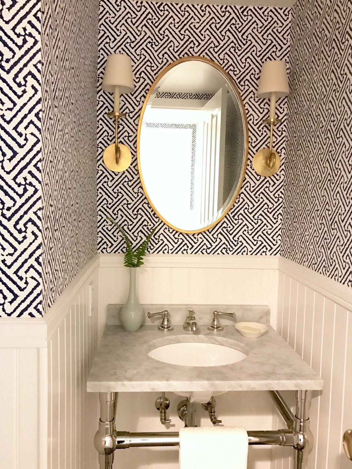 Fresh Indigo White Aged Brass Powder Room And Laundry Room Before And After Classic Casual Home Powder Room Decor Powder Room Design Bathroom Wallpaper Trends