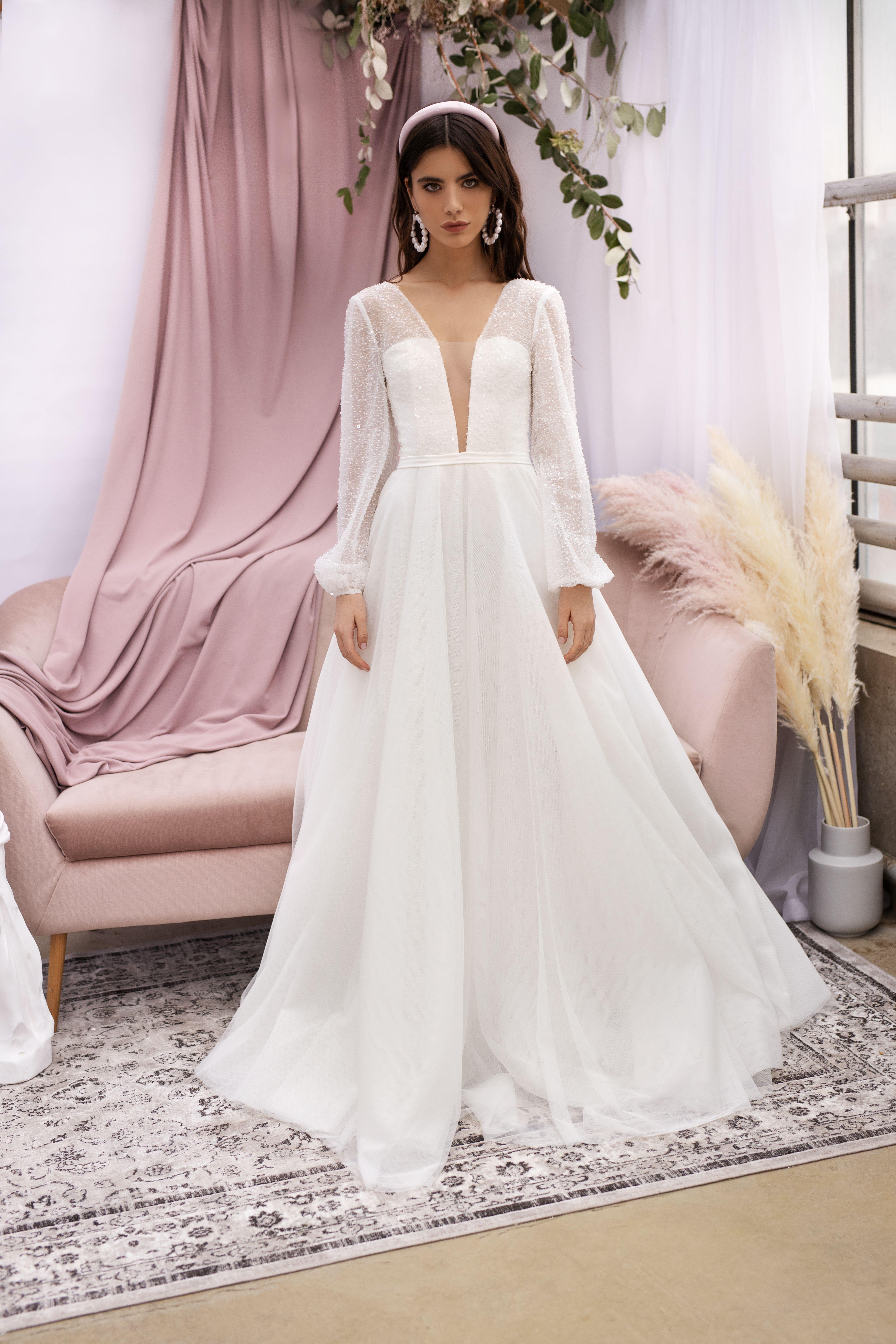 Mesh Bridal Gown With Deep V Neck By Dream Dress Long Sleeves Wedding Dress Bohemian Wedding A M Etsy Wedding Dress Flattering Wedding Dress Wedding Dresses [ 6720 x 4480 Pixel ]