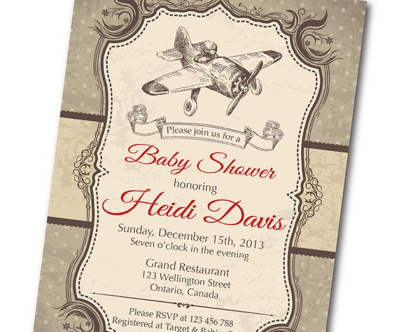 Vintage Airplane Baby Shower Invitation. Retro Baby Boy Shower Invite. Wood  Baackground Texture. Any Custom Color. DIY Digital Printable